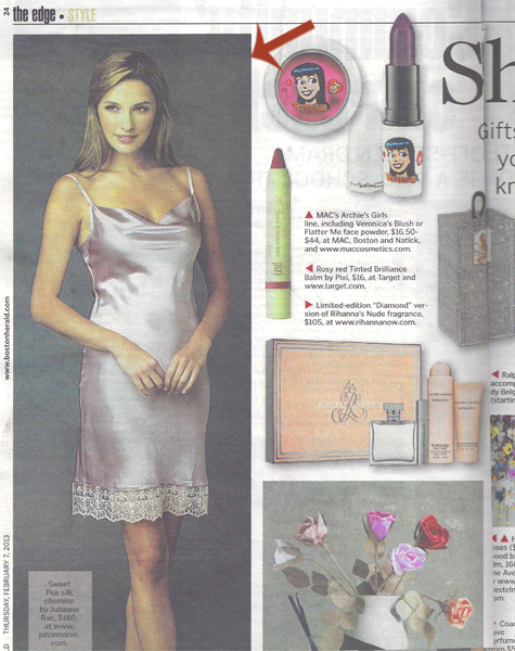 Julianna Rae Camille Silk Chemise in the Boston Herald