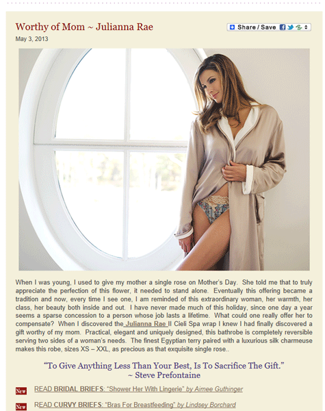 Julianna Rae's fabulous Il Cieli Reversible Spa Robe in Lingerie Briefs