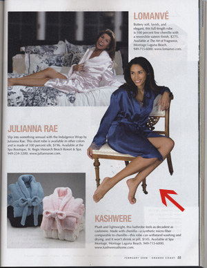 Julianna Rae fine pajamas in Orange Coast Magazine
