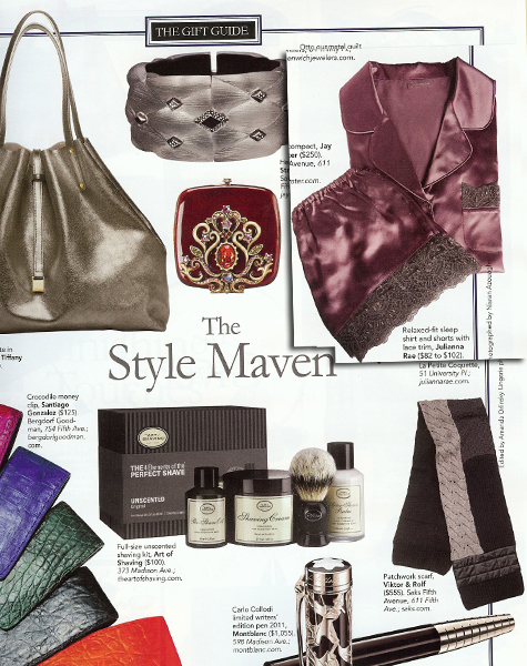 Julianna Rae Silk Sleepshirt and tap pants in Downtown Magazine Holiday Gift Guide!