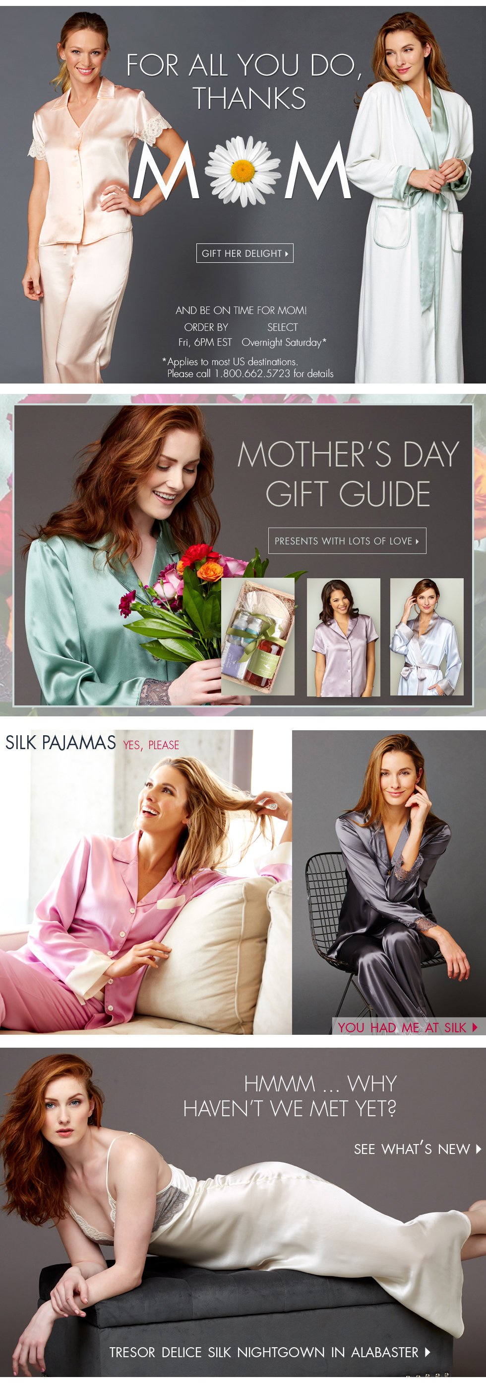 thank mom with a gift of luxurious sleepwear