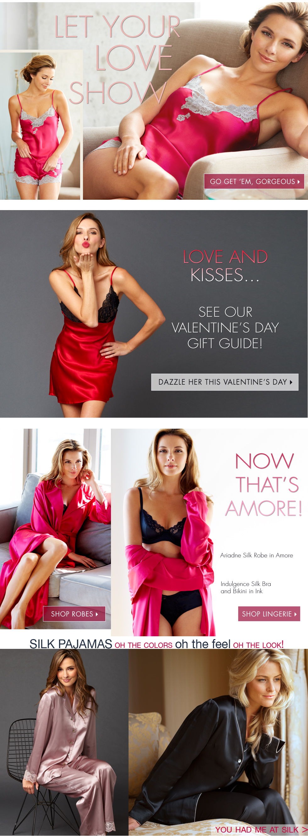 valentine's day made easy - luxurious lingerie and sleepwear!
