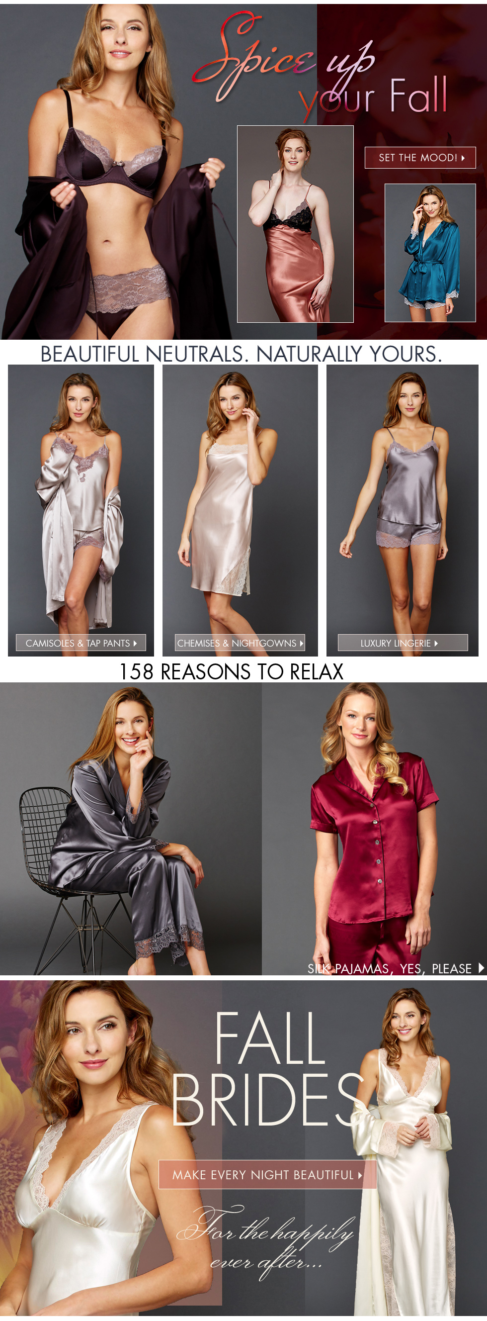 make fall beautiful with luxury lingerie and sleepwear