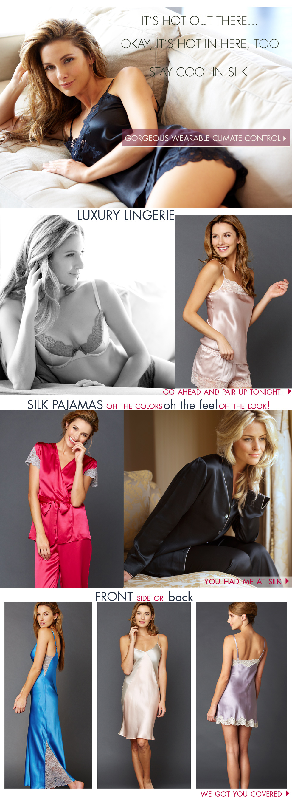 it's hot! stay cool this summer with luxury lingerie and sleepwear